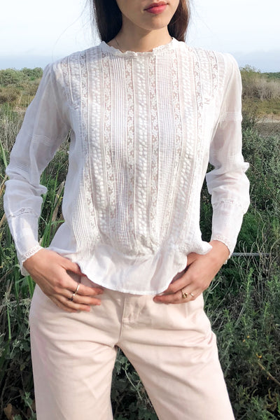 Antique Embroidered Edwardian Top - S
