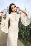 1970s High Neck Lace Crochet Dress- XXS/XS