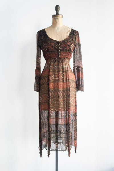 1970s Chocolate Sheer Silk Chiffon Dress - M