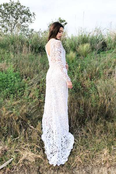 1970s Crochet Lace Trained Gown - M