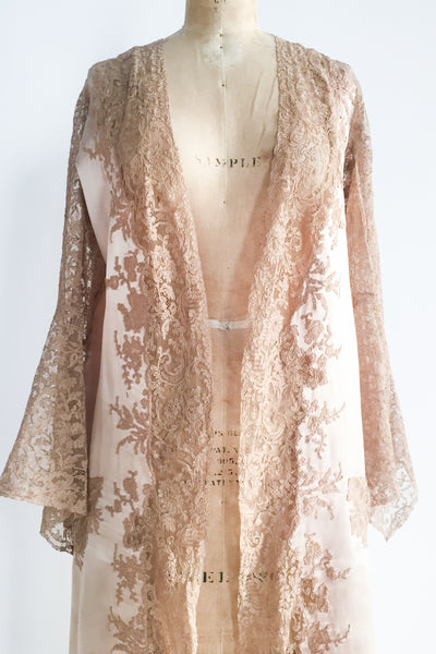 RARE 1920s French Nude Dressing Robe with Ecru Lace - One Size
