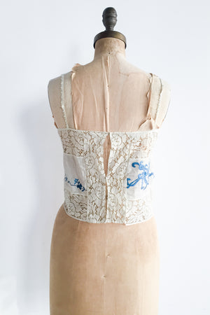 1920s Antique Lace Camisole with Blue Embroidery - S/M
