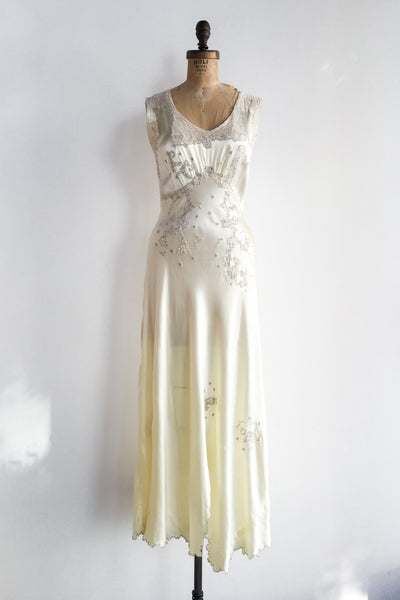 1930s Light Yellow Bias Cut Dress - S/M