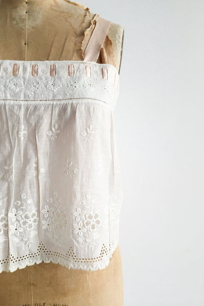 Antique Cotton Embroidered Camisole - S
