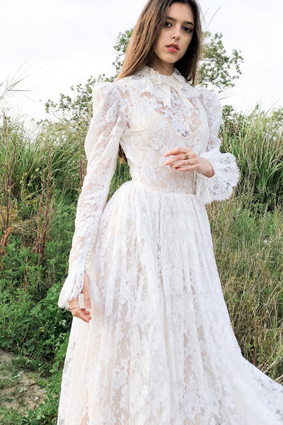 1950s High Neck Lace Wedding Dress - XS/S