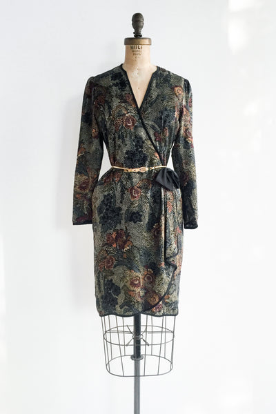 1980s Faux Floral Silk Satin Wrap Dress - S/M