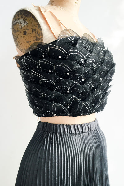 Vintage Black Cropped Crystal Embellished Top - XS