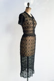 1940s Dark Brown Irish Crochet Dress - XS/S