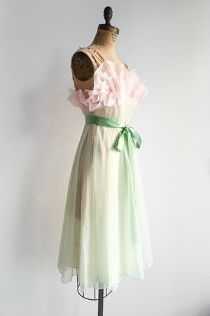 1960s Sheer Pink and Light Green Pleated Bust Dress - S