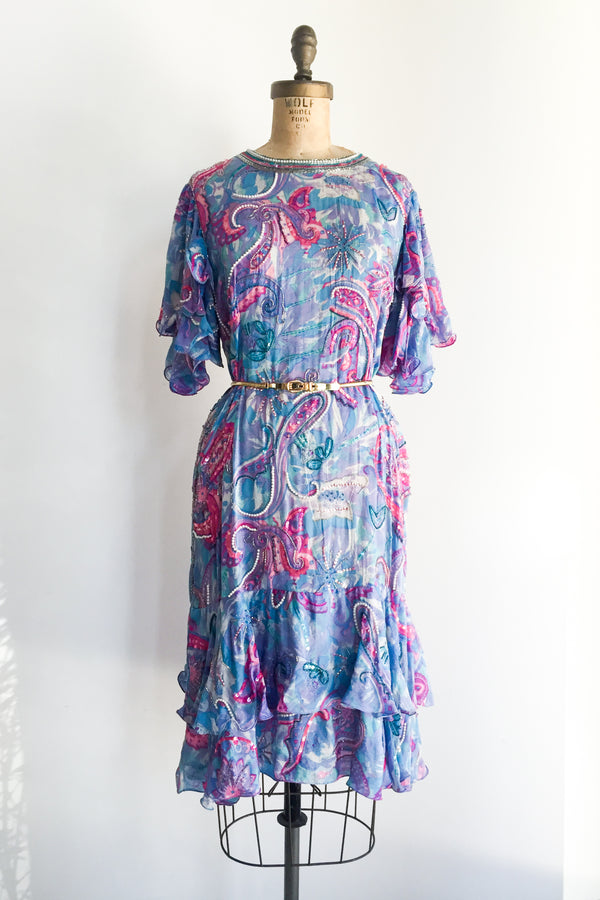 1980s Blue/Purple Silk Floral Dress - S/M