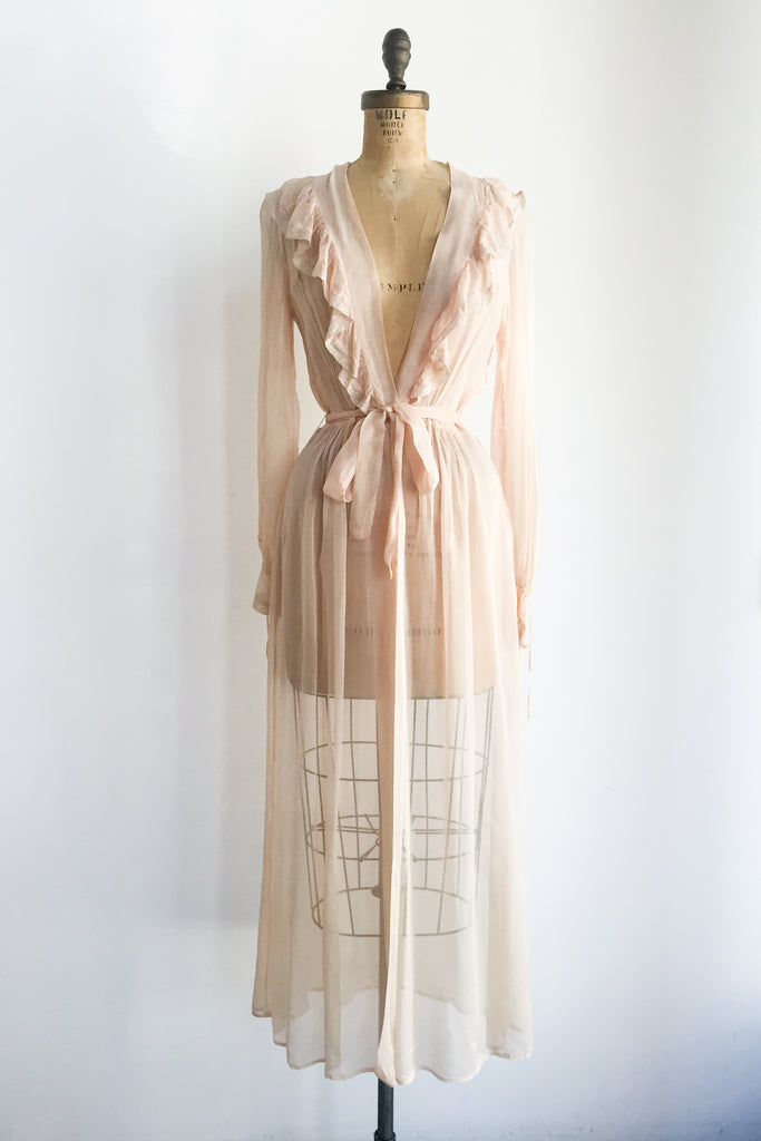 1940s Sheer Pink Chiffon Dressing Gown - S/M ...