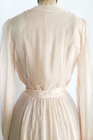 1940s Sheer Pink Chiffon Dressing Gown - S/M