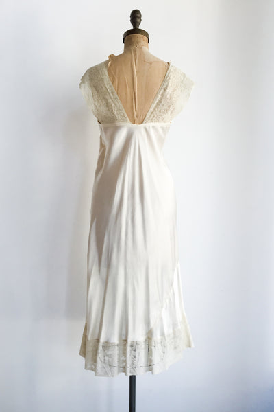 1930s Satin and Lace Slip Dress - M