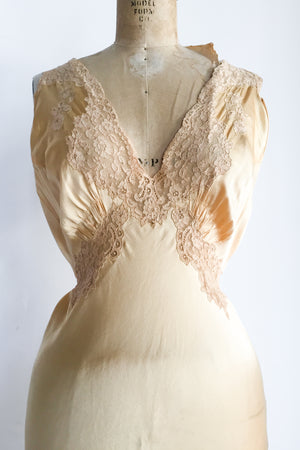 1930s Silk Light Mustard Bias Cut Gown - S/M