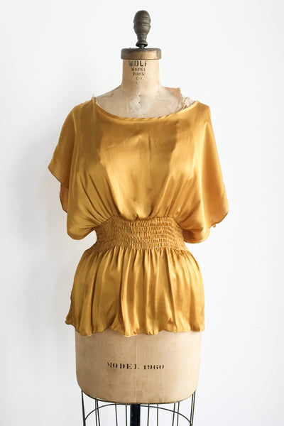 Marigold Silk Smocked Top - M