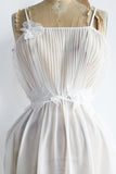 1960s Sheer Pleated Bust Gown - XS