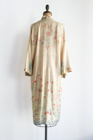 1920s Pongee Silk Dressing Robe - One Size