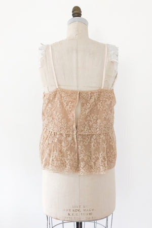 1920s Peach Silk Lace Cami - S/M