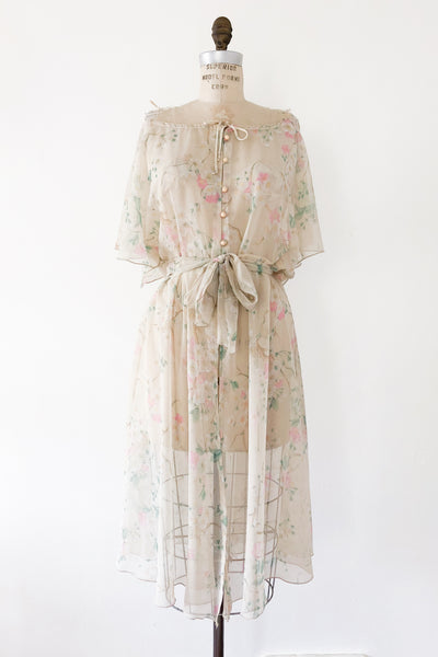 Vintage Chiffon Floral Dress - M