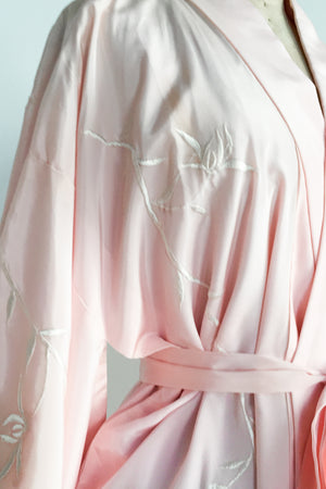Vintage Crepe Pink Floral Embroidered Kimono - One Size