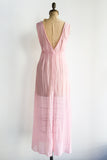 1970s Sheer Pink Cotton Gauze Dress - M