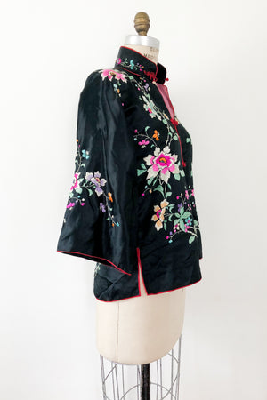 Antique Black Silk Jacket with Floral Embroidery - S
