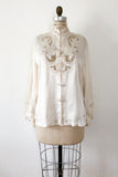 1940s/50s Silk Embroidered Top - S/M
