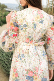 1970s Cuffed Sleeves Floral Dress - S