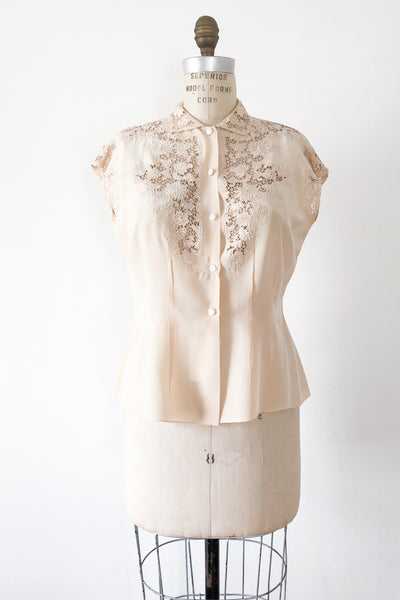1940s/50s Beige Silk Embroidered Top - S/M