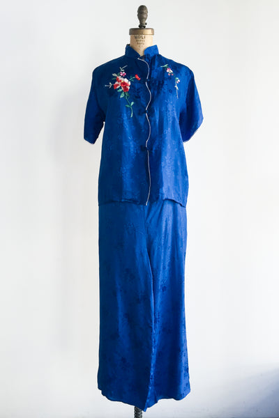 1940s Rayon Embroidered Top and Pants Set - S/M