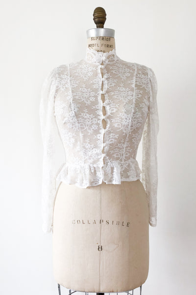 Vintage Sheer Lace Top - S