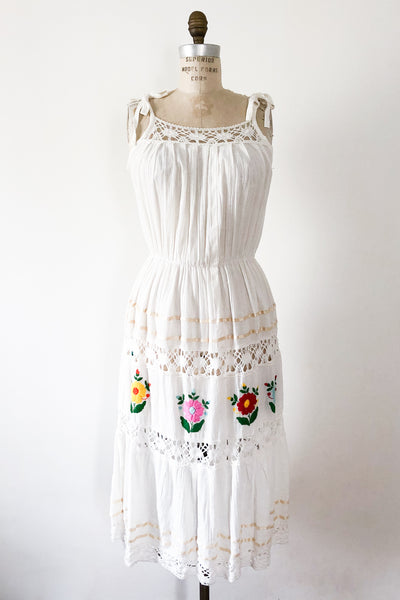 1970s Gauze Embroidered Dress - M