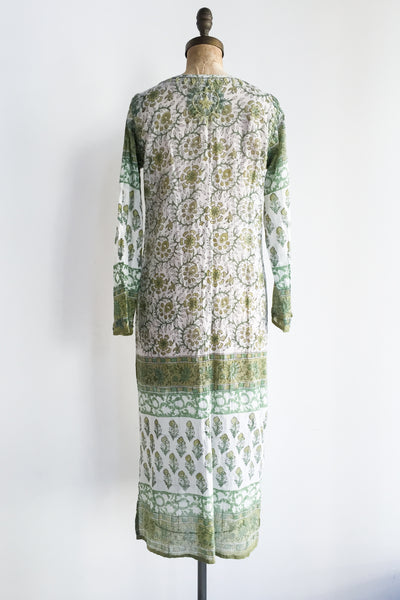 1970s Embroidered Indian Cotton Dress - S/M