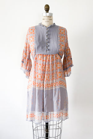 Lavender and Orange Silk Dress - S