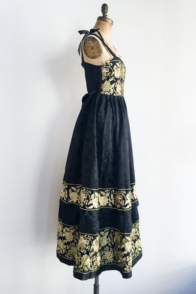 Vintage Embroidered Jacquard Dress - S