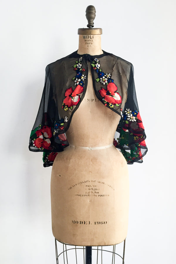1930s Silk Chiffon and Embroidered Print Capelet - One Size