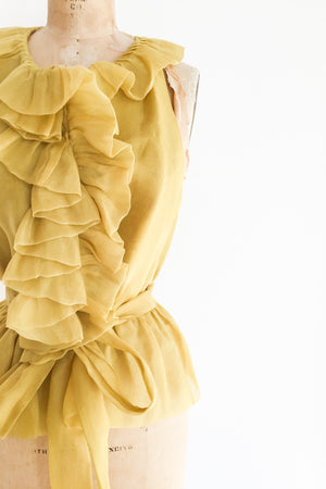 Gold Silk Organza Ruffled Blouse - M