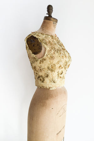 1960s Gold Embellished Lace Top - XS