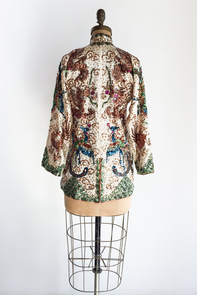 RARE 1940s Silk Sequin Jacket - S/M