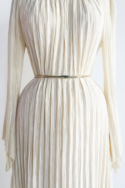 1980s Mary McFadden Silk Off-the-Shoulder Dress - M
