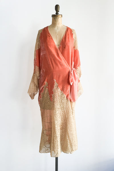 1920s Orange Silk Velvet Dressing Gown - M