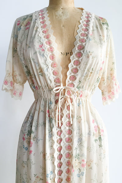 1970s Light Yellow Floral Robe - S