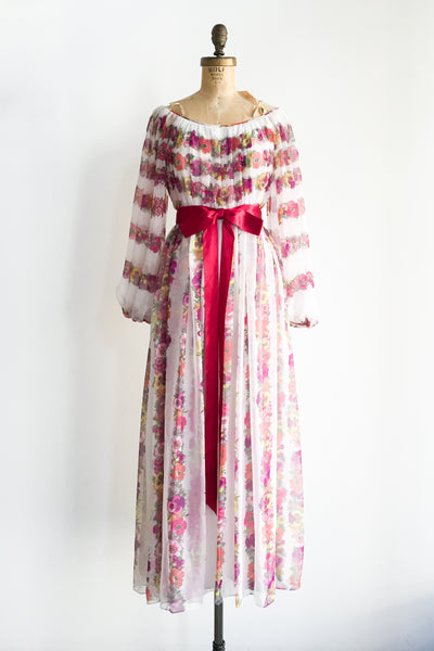 1970s Poet Sleeves Chiffon Floral Dress - S/M