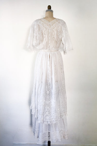 Antique Cotton Embroidered Dress - S/M