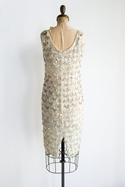 1960s Silk Chiffon Beaded Shift Dress - S/M