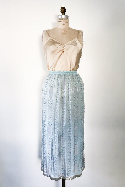1980s Light Blue Silk Beaded Skirt - M/L