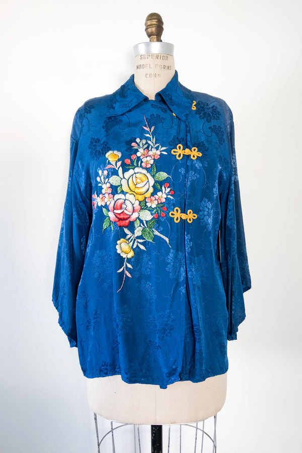 Blue Embroidered Rayon Brocade Top - M
