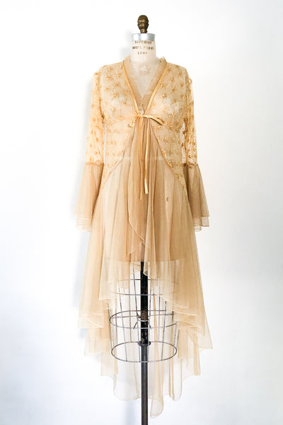 Vintage Gold Lace Dressing Robe - One Size