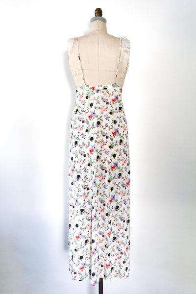 Vintage Plunging Poly Floral Dress - XS/S