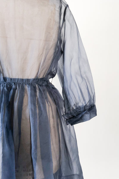 1950s Midnight Blue Silk Organza Shirtdress/Duster - M